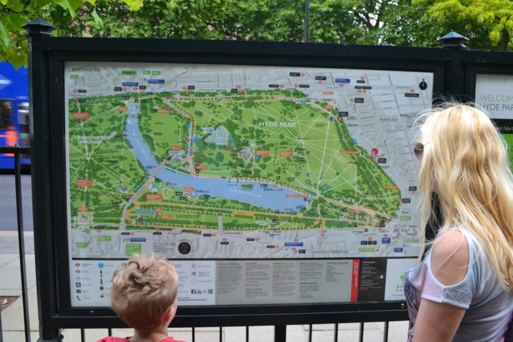 Kensington Gardens & Hyde Park map, Londýn
